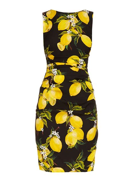Dres Emon dolce gabbana lemon print ruched silk dress in yellow lyst