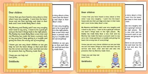 Apology Letter Exle Ks1 Goldilocks Apology Letter Goldilocks Apology Letter Apology