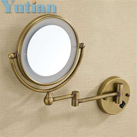 led gold brass cosmetic mirror wall mounted bathroom antique brass led light makeup mirrors 8 quot round dual sides