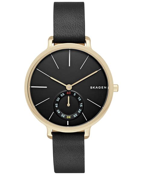 skagen s chronograph hagen black leather