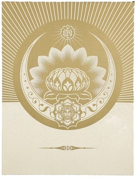 Obey Black Gold White obey lotus crescent white gold by shepard fairey at