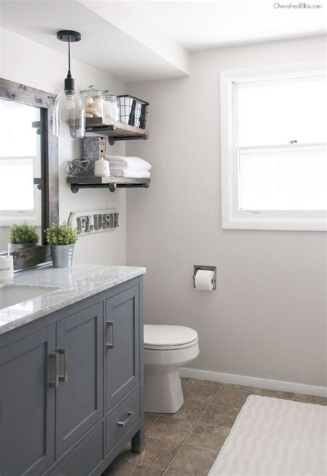 Farmhouse Style Bathroom Vanity Industrial Farmhouse Bathroom Reveal Cherished Bliss