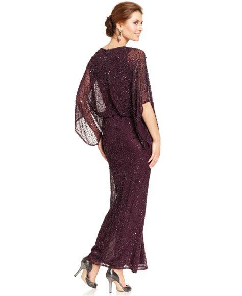 beaded blouson gown patra kimono sleeve beaded blouson gown in purple lyst