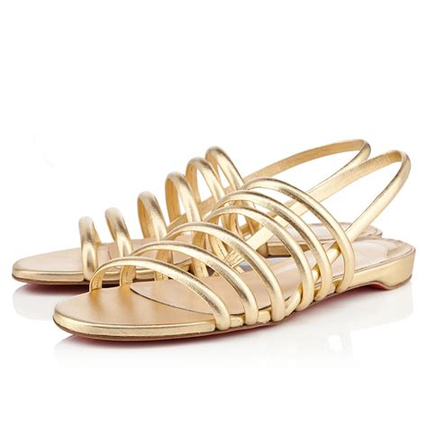 gold sandals on sale 2018 christian louboutin bottom vildo flat sandals