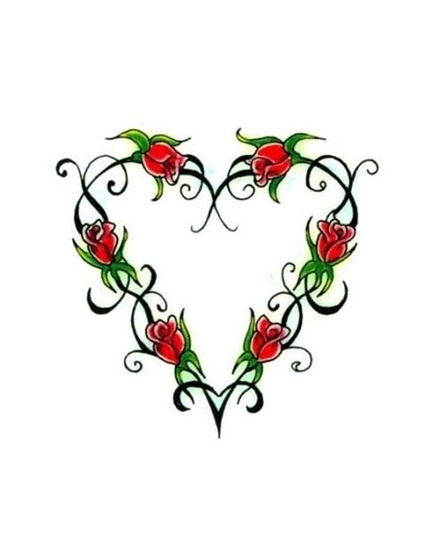heart rose and vine tattoo designs 31 best shaped images on