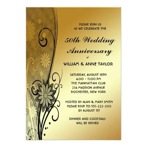 50th Anniversary Party Invitations Template Resume Builder Golden Anniversary Invitation Templates