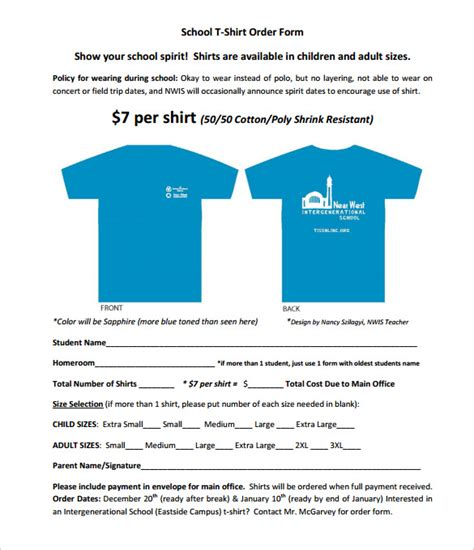 t shirt order form template 26 free word pdf format