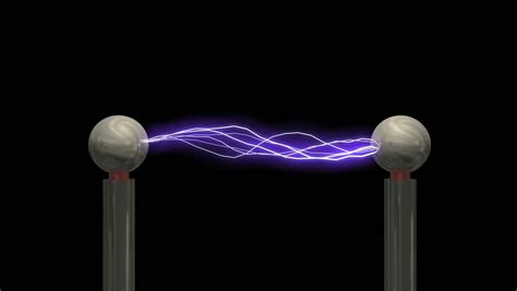 White Tesla Coil Concept Animation Tesla Coil With Matte Stock Footage