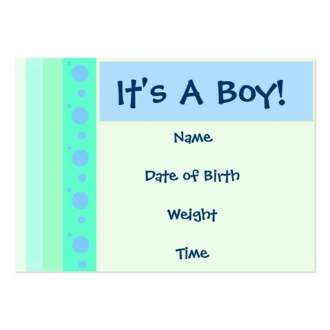 business announcement cards templates baby boy birth announcement card large business cards