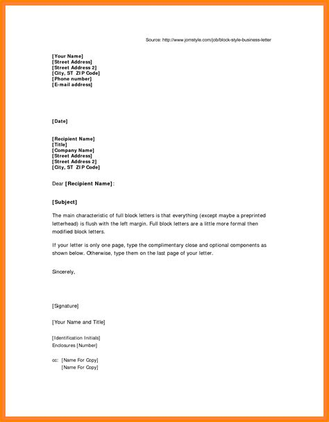 Application Letter Sle Format 5 Application Letter Format Block Style Farmer Resume