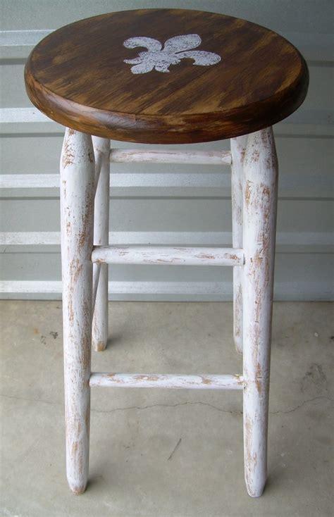 fleur de lis upcycled bar stool shabby chic painted bar