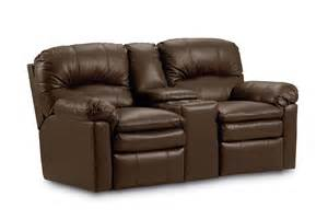 brown leather power reclining loveseat with cup