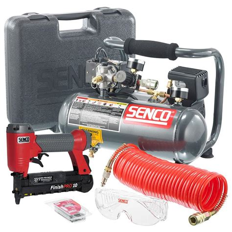 senco finishpro kit pc1010 1 2hp 1 gal compressor with 23 finish nailer pc0974 the home
