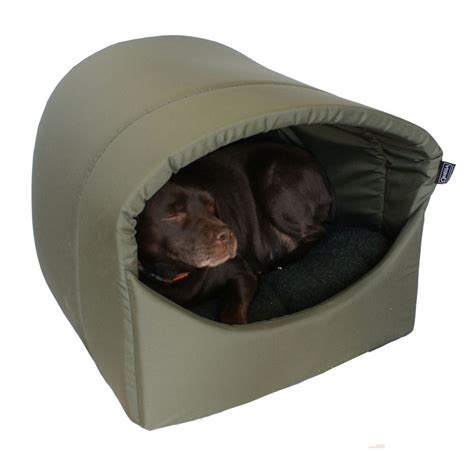 omega hooded cave covered dog bed extra large for
