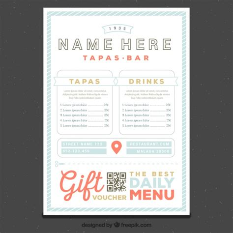 restaurant menu template in retro style vector free download