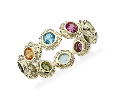 multi gemstone eternity confetti ring in 14k yellow gold
