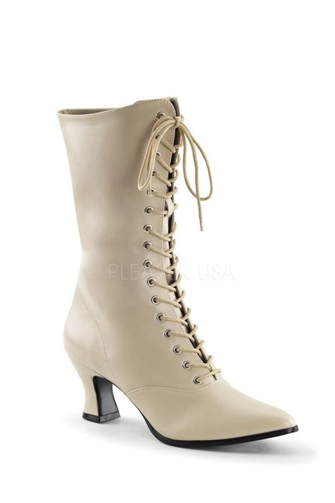 Boot R 011 Crem lace up mid calf boots faux leather