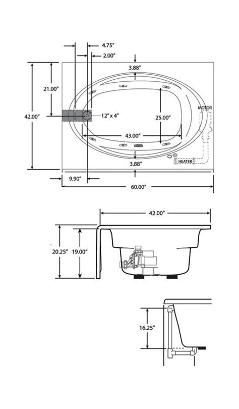 whirlpool bathtub dimensions jacuzzi j4s6042 wlr 1hx whirlpool bathtub build com