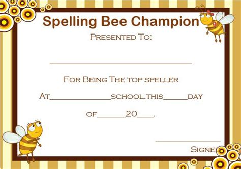 spelling bee invitation template 21 free printable spelling bee certificates participation