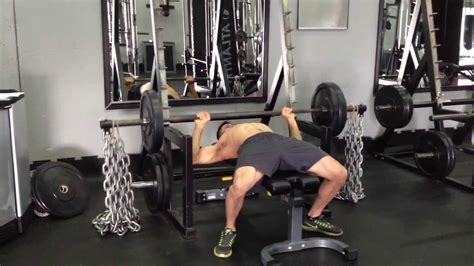 chain bench press barbell bench press with chains youtube
