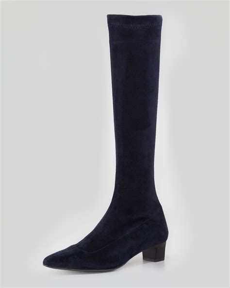 robert clergerie ghislene stretch suede knee boot in blue