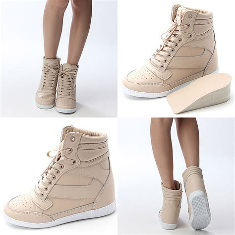 Fashion Wedges Sneakers Kode 1688 womens high top sneakers wedge trainers shoes us 6 9