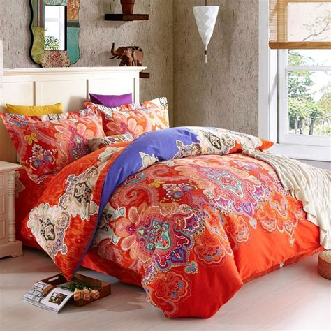 Orange Red And Royal Blue Western Tribal Print Luxury India Bedding Sets