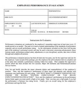 employee evaluations templates sle performance evaluation 7 documents in pdf word