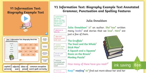 biography features ks2 powerpoint y1 information texts biography model exle text exle