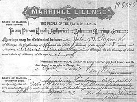 State Of Illinois Marriage License Records Gainowski Genealogy Source Records