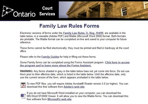 California Family Court Records Cas Ontario Ontario Family Court Forms