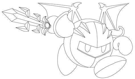 meta knight lineart by chargermaster on deviantart