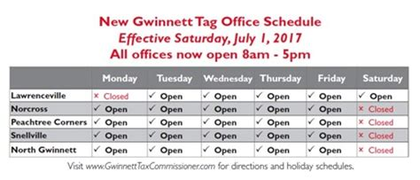 new gwinnett auto tag office hours schedule in place