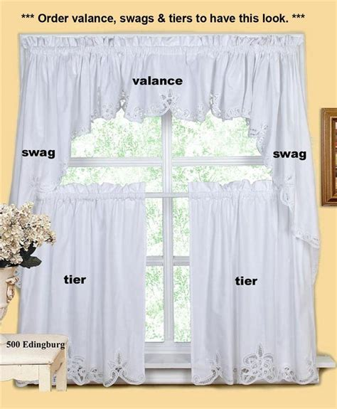 kitchen swag curtains white battenburg lace kitchen curtain valance tier swag