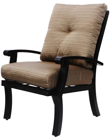 Patio Dining Chairs With Cushions Barbados Cushion Aluminum Outdoor Patio Dining Chair With Cushion Antique Bronze
