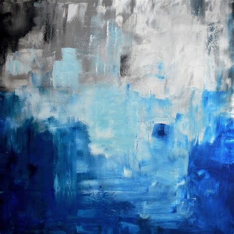 blue and white painting 36 original abstract white gray blue black painting on by