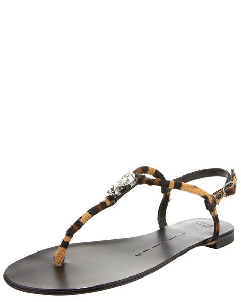 leopard sandals flat giuseppe zanotti leopard print flat sandal in animal