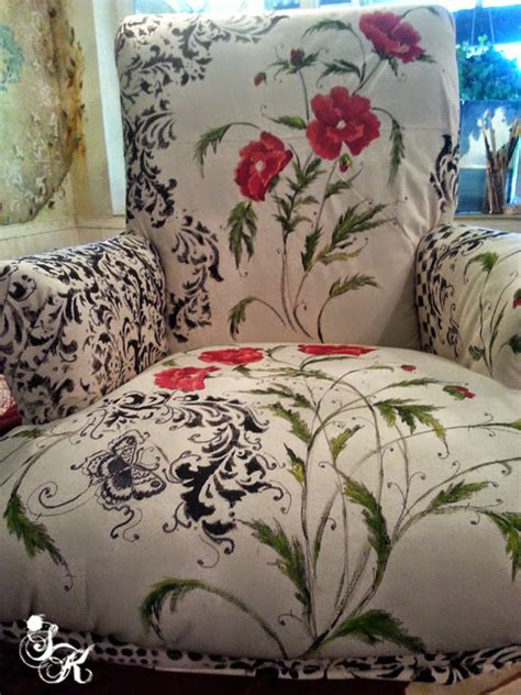 hand painted upholstery fabric floral hand painted fabric chair hometalk