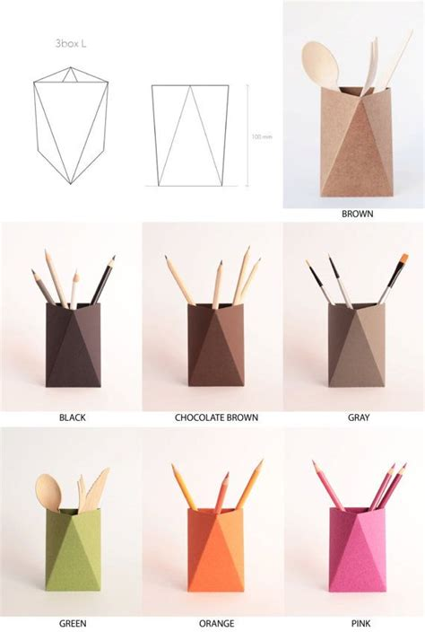 Paket 3box 3box origami paper box desk pen holder pencil cup