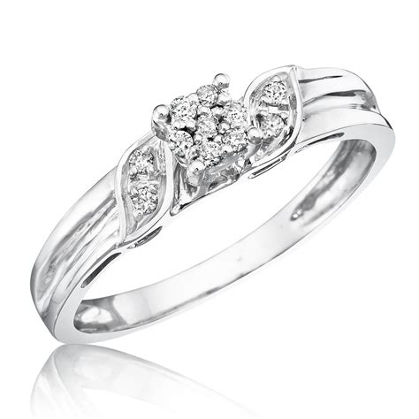 engagement rings for women 1 10 carat t w diamond women s engagement ring 10k white