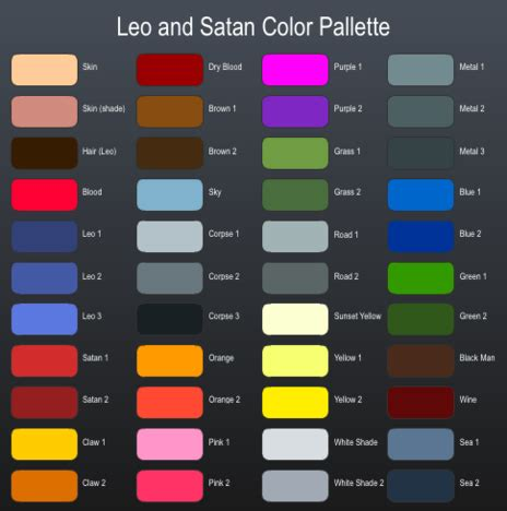 leo color leo and satan color palette by oney on newgrounds