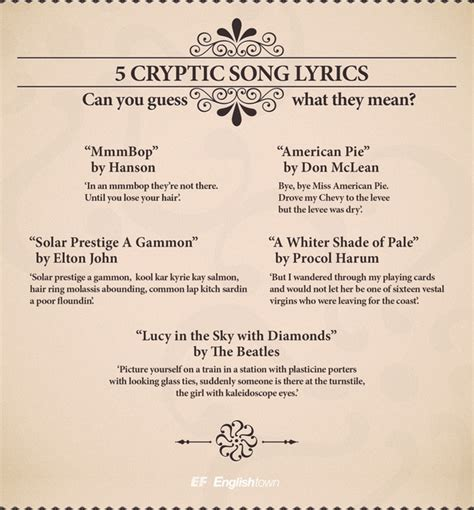 lyrics of song top five most cryptic song lyrics