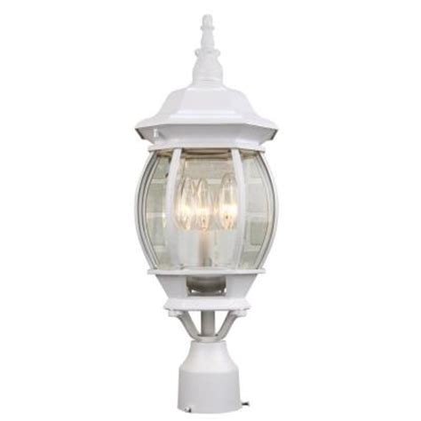white outdoor post light hton bay 3 light outdoor white post lantern gnc1813a