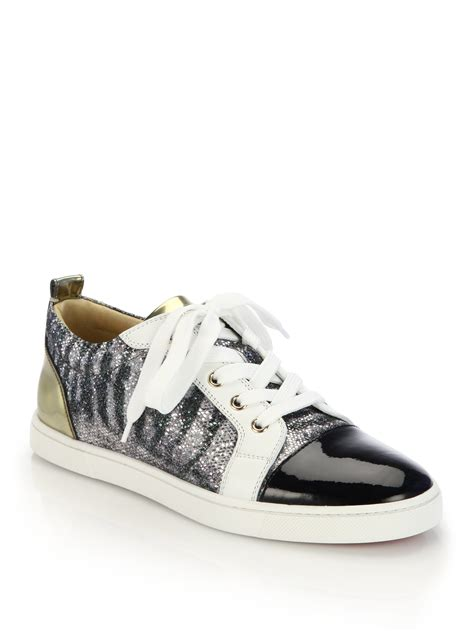 christian louboutin sneakers christian louboutin gondoliere glitter mixed leather
