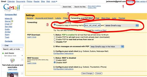 gmail settings setting up gmail and sassie