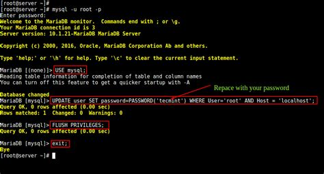 How To Change Root Password Of Mysql Or Mariadb In Linux Change Table Mysql