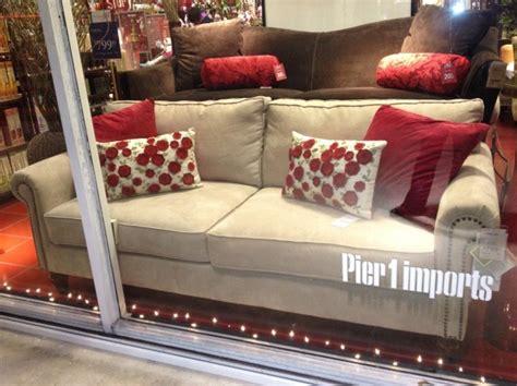 pier 1 alton sofa in ecru with pillows pier 1
