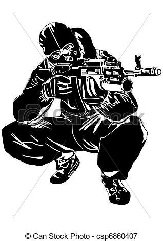vectors illustration of sniper the illustration on