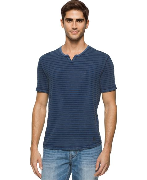 Stripe Neck T Shirt lyst calvin klein s stripe wash split