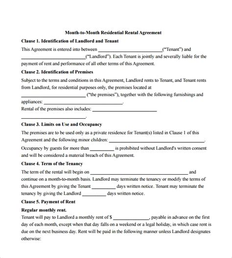 12 Month To Month Rental Agreement Form Templates To Download Sle Templates Month To Month Lease Agreement Template